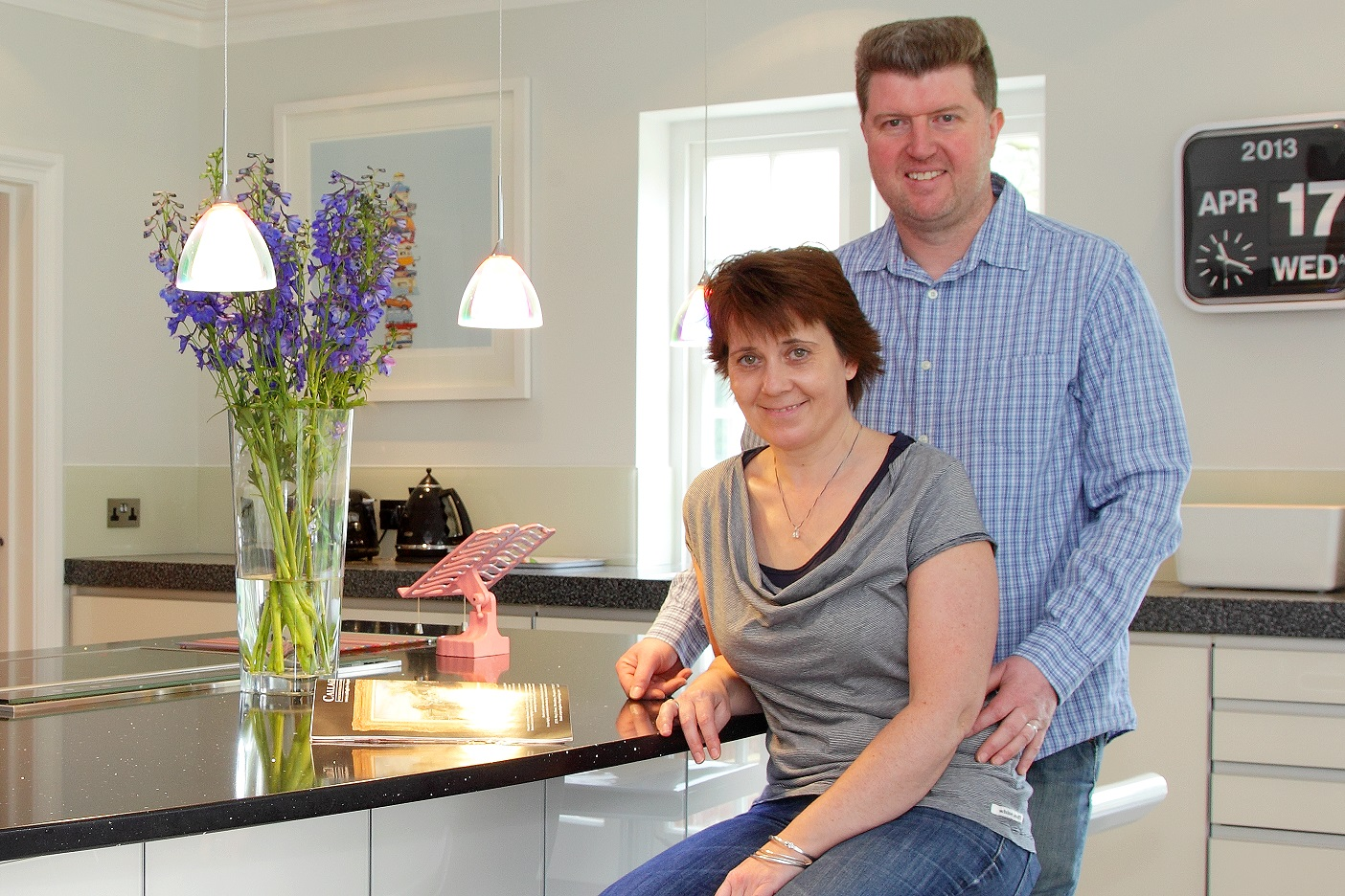 Kerry and Mark Reynolds of TIlford, near Farnham, Surrey are delighted with their ALNO kitchen. This is the fourth kitchen they have bought from Hampshire Kitchens over several properties and many years.
